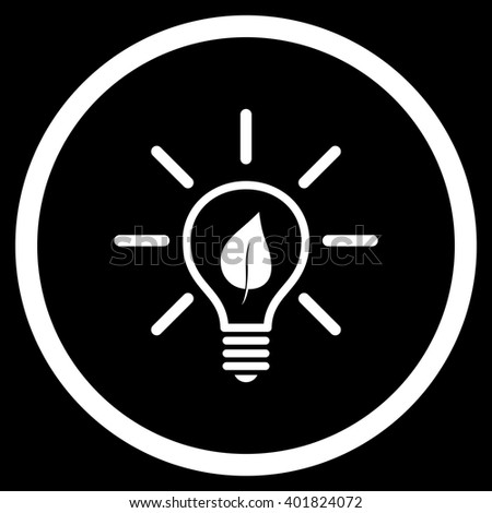 Eco Light Bulb vector icon. Image style is a flat icon symbol inside a circle, white color, black background. - stock vector