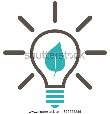 Eco Light Bulb vector icon. Style is bicolor flat icon symbol, grey and cyan colors, white background. - stock vector