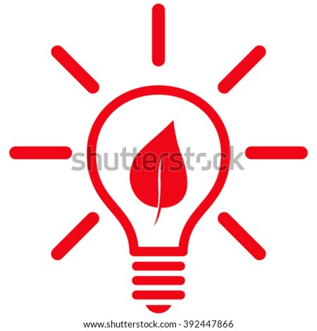Eco Light Bulb vector icon. Style is flat icon symbol, red color, white background. - stock vector