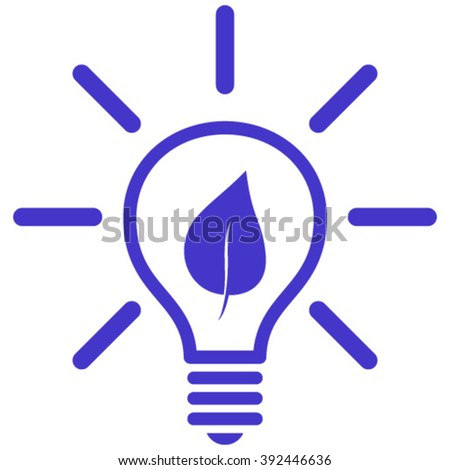 Eco Light Bulb vector icon. Style is flat icon symbol, violet color, white background. - stock vector