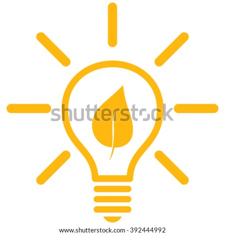 Eco Light Bulb vector icon. Style is flat icon symbol, yellow color, white background. - stock vector