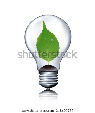 Eco light bulb with green leaf. Vector.