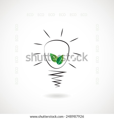 Eco light bulb with leafs inside concept icon or sign - stock vector