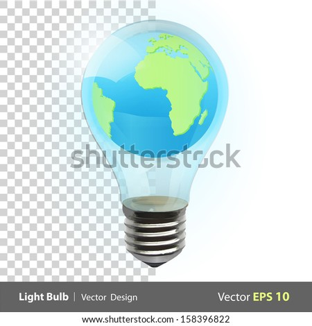 Eco light bulb with world inside. Vector background illustration.