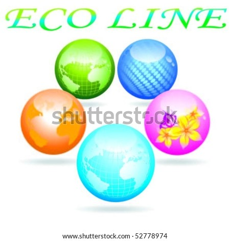Eco line. Glass Balls - stock vector