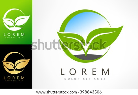 Eco logo green leaf vector illustration