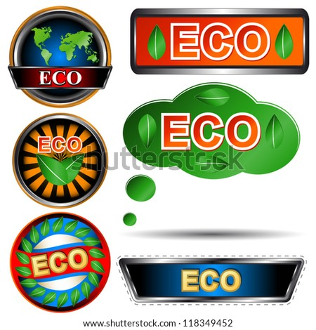 Eco logo set on a white background - stock vector