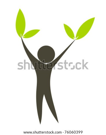 Eco man with green leaves in hands. Conceptual vector illustration