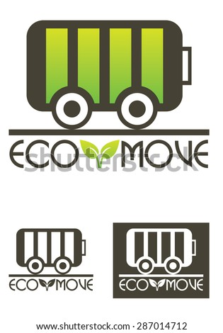 Eco Move vector logo template, a logo template representing an eco vehicle, suitable for clean energy related business, clean batteries, etc. - stock vector