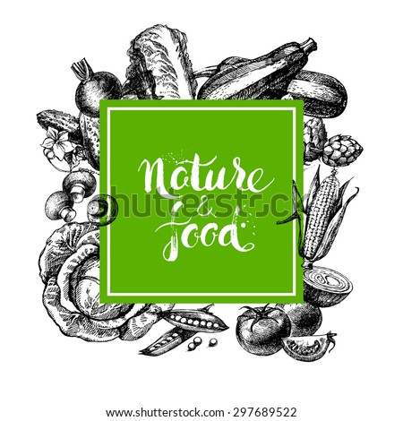 Eco natural food menu background. Sketch hand drawn vegetables frame. Vector illustration - stock vector