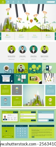 Eco One page flat website design, huge collection of website elements. - stock vector