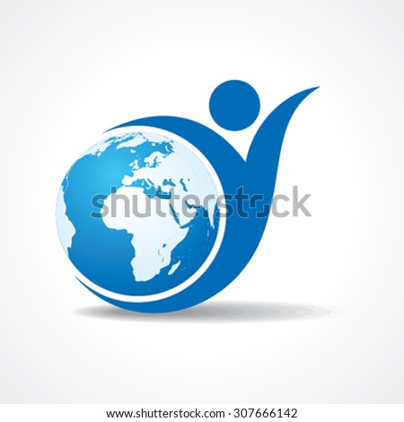 Eco people celebration icon with earth design vector - stock vector