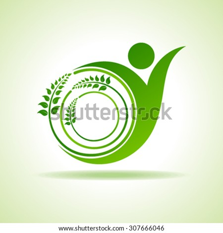 Eco people celebration icon with leaf design vector - stock vector