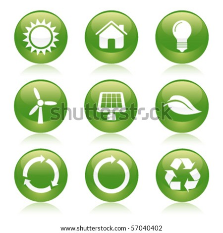 eco recycle glossy icons - stock vector