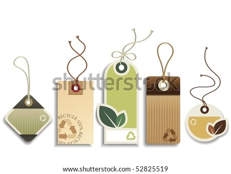 Eco Recycle Tags - stock vector