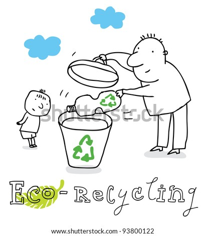 Eco recycling; ecology and environment protection, vector drawing ; isolated on background. - stock vector
