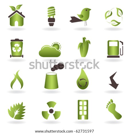 Eco related symbols and icons - stock vector
