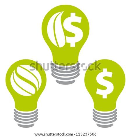 Eco saving energy icons, cheap energy, vector. - stock vector
