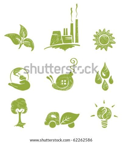 Eco set - stock vector