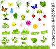 Eco Set With Nature Icons, Isolated On Black Background, Vector Illustration - stock vector