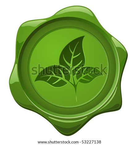 Eco sign. Green wax seal with leaves shape isolated on white. - stock vector