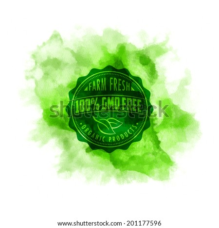 Eco stamp label of healthy organic natural fresh farm food on the watercolor splash - stock vector