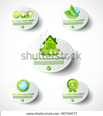 Eco sticker collection 2 - stock vector