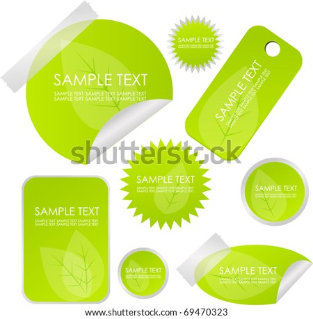 eco stickers or badges - stock vector