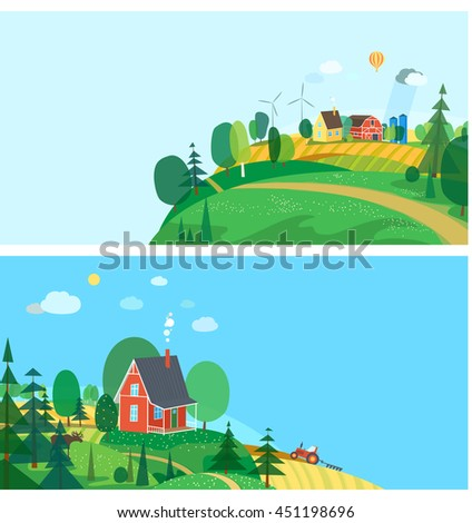 Eco style life. Abstract forest. Wildlife. Forest view. House in the woods. Farm