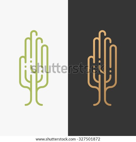 Eco symbol, palm in a tree shape. Bio logo, environmental sign. Humanity and ecology protection logotype.  - stock vector