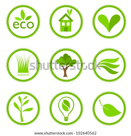 Eco symbols collection. Vector illustration - stock vector