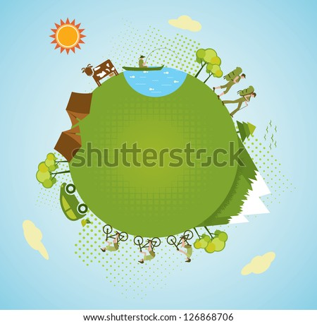 Eco tourism, mountaineering. Vector. - stock vector