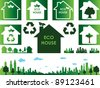Eco town and house - stock vector