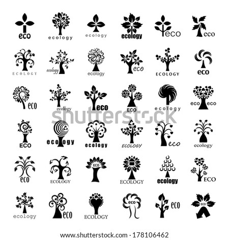 Eco Tree Icons Set - Isolated On White Background - Vector Illustration, Graphic Design Editable For Your Design. - stock vector