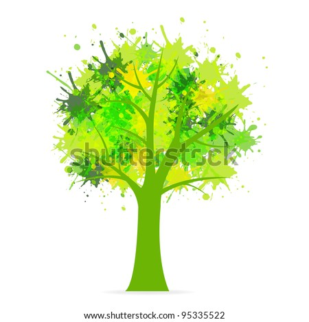 Eco Tree, Isolated On White Background, Vector Background