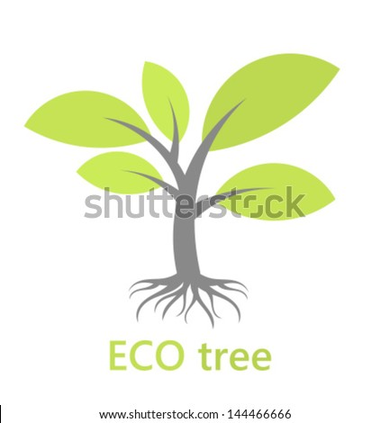 Eco tree with roots. Vector illustration - stock vector