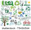 ECO vector set - doodles and inscriptions - stock photo