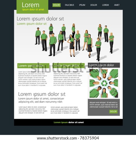 Eco Website Template. Group of people in green clothes and recycling icon. - stock vector