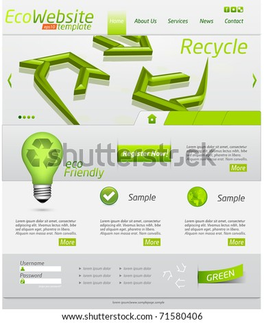 Eco website template with clean design and icons - stock vector