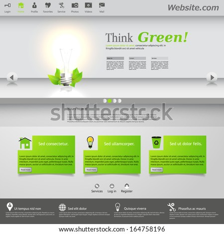 Eco Website Template with lighting bulb. - stock vector