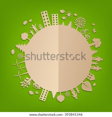 Eco World With Gradient Mesh, Vector Illustration - stock vector