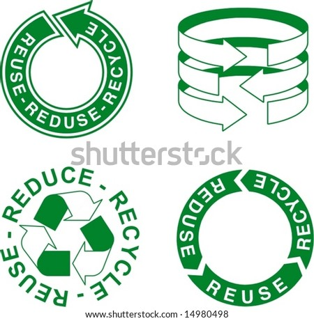 ecologic arrow for preservation of nature: reuse, reduce, recycle - stock vector