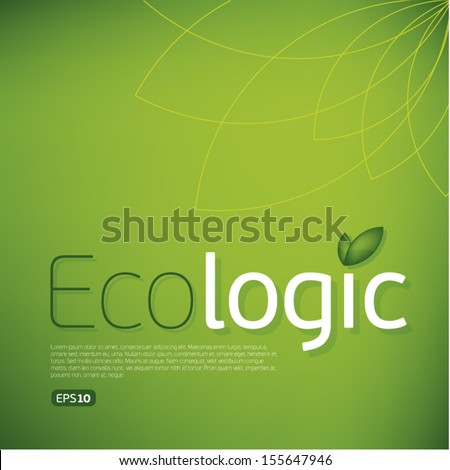 Ecologic icon background.Think Green. Concept. - stock vector