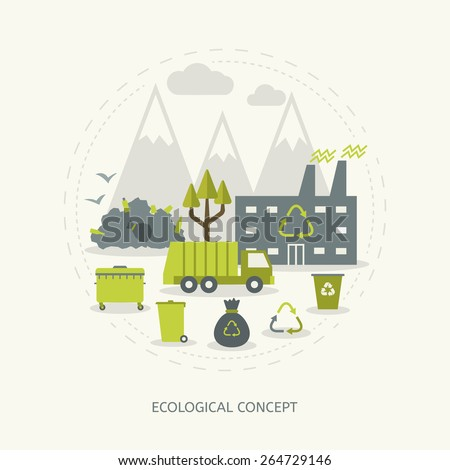 Ecologic recycling and waste utilization concept in flat style - stock vector