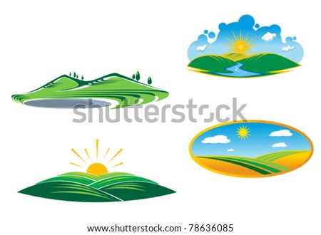 Ecological and nature symbols isolated on white. Jpeg version also available - stock vector