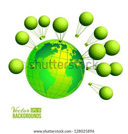 Ecological background  with kids and globe. Vector illustration, eps 10, contains transparencies.