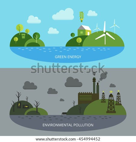 Ecological climate banners with green energy on blue background environmental pollution in grey tones isolated vector illustration  - stock vector
