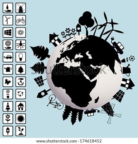 Ecological concept with Earth and environment icons - stock vector