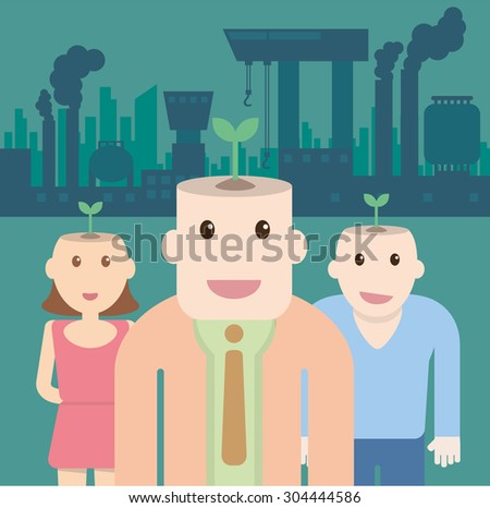 Ecological concept with Plant on head people and factory pollution - stock vector