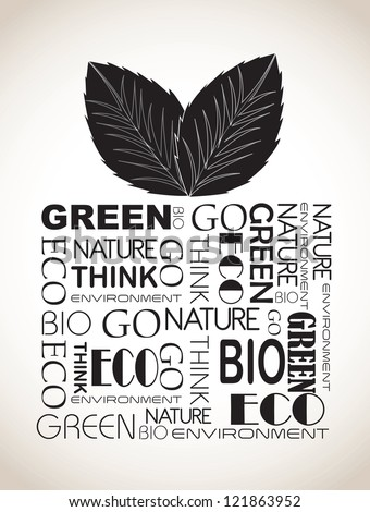 ecological gift with black words over white background vector illustration - stock vector